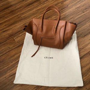 Celine phantom luggage bag  cognac color